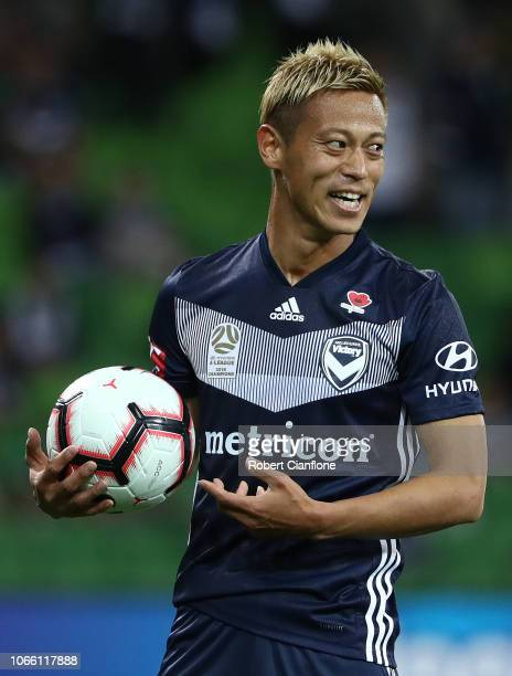 Keisuke Honda of the Victory looks on during the round four ALeague match between the Melbourne Victory and the Central Coast Mariners at AAMI Park...