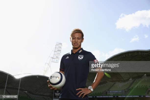 Keisuke Honda of the Victory poses for the media at a Melbourne Victory ALeague press conference at AAMI Park on August 15 2018 in Melbourne...