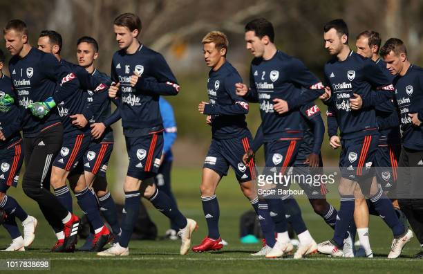 Keisuke Honda of the Victory runs during a Melbourne Victory training session at Gosch's Paddock on August 17 2018 in Melbourne Australia Japanese...