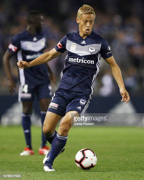 Keisuke Honda of the Victory runs with the ball during the round seven A-League match between Melbourne Victory and Adelaide United at Marvel Stadium...
