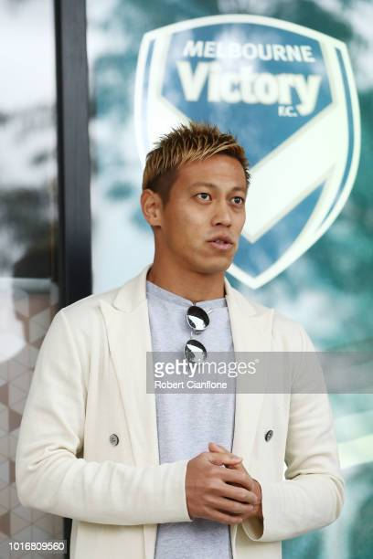Keisuke Honda of the Victory talks to the media ahead of a Melbourne Victory ALeague press conference at AAMI Park on August 15 2018 in Melbourne...