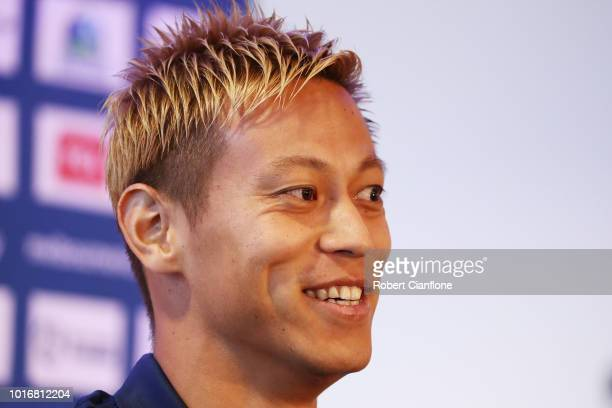 Keisuke Honda of the Victory talks to the media at a Melbourne Victory ALeague press conference at AAMI Park on August 15 2018 in Melbourne Australia...