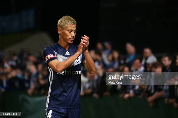 Keisuke Honda of the Victory thanks supporters after the ALeague Semi Final match between Sydney FC and the Melbourne Victory at Netstrata Jubilee...