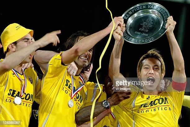 Keisuke Honda of VVVVenlo celebrates winning the Eerste Divisie title after the Eerste Divisie match between VVVVenlo and HFC Haarlem at the Seacon...