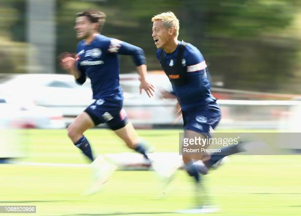 Keisuke Honda runs during a Melbourne Victory ALeague training session at Gosch's Paddock on December 5 2018 in Melbourne Australia