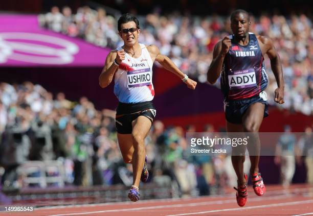 Keisuke Ushiro of Japan and Jangy Addy of Liberia compete in the Men's Decathlon 100m Heats on Day 12 of the London 2012 Olympic Games at Olympic...