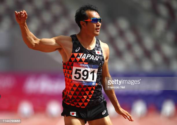 Keisuke Ushiro of Japan competes in the men's decathlon 100m heats during day two of the 23rd Asian Athletics Championships at Khalifa International...