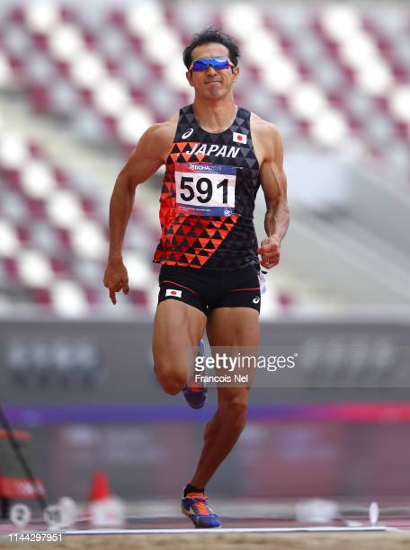 Keisuke Ushiro of Japan competes in the men's decathlon long jump during day two of the 23rd Asian Athletics Championships at Khalifa International...