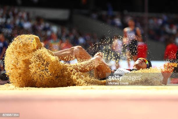 Keisuke Ushiro of Japan competes in the Men's Decathlon Long Jump during day eight of the 16th IAAF World Athletics Championships London 2017 at The...