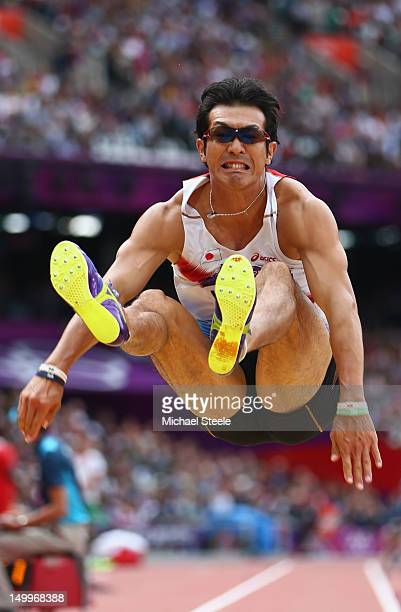 Keisuke Ushiro of Japan competes in the Men's Decathlon Long Jump on Day 12 of the London 2012 Olympic Games at Olympic Stadium on August 8, 2012 in...