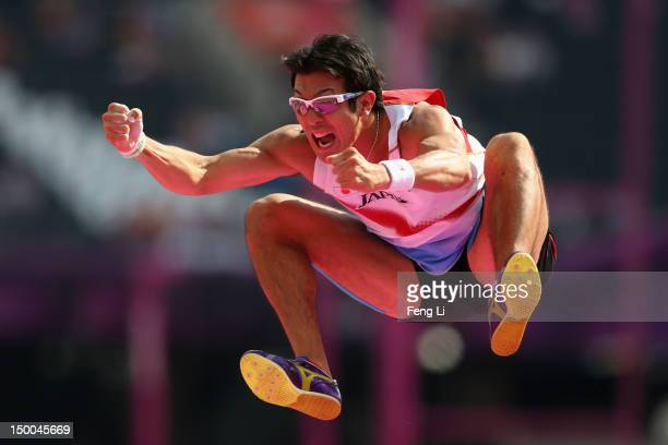 Keisuke Ushiro of Japan reacts after competing in the Men's Decathlon Pole Vault on Day 13 of the London 2012 Olympic Games at Olympic Stadium on...