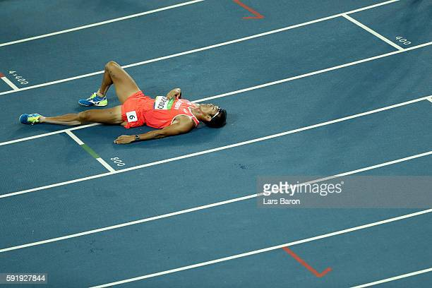 Keisuke Ushiro of Japan reacts after competing in the Men's Decathlon 1500m on Day 13 of the Rio 2016 Olympic Games at the Olympic Stadium on August...