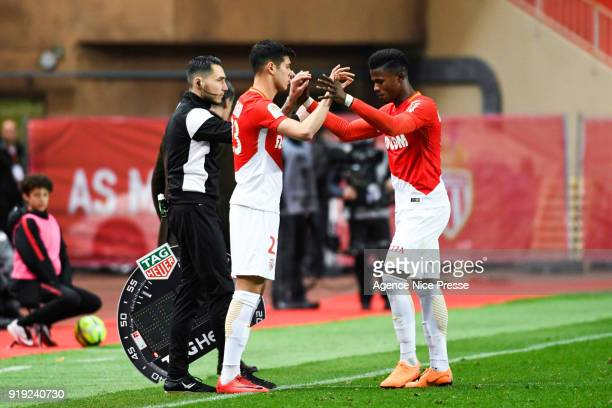 Keita Balde and Pietro Pellegri of Monaco during the Ligue 1 match between AS Monaco and Dijon FCO at Stade Louis II on February 16 2018 in Monaco