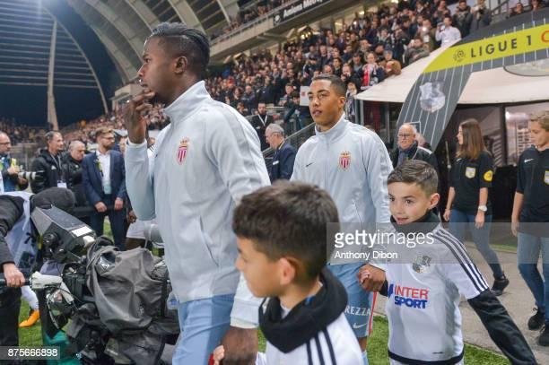 Keita Balde and Youri Tielemans of Monaco during the Ligue 1 match between Amiens SC and AS Monaco at Stade de la Licorne on November 17 2017 in...