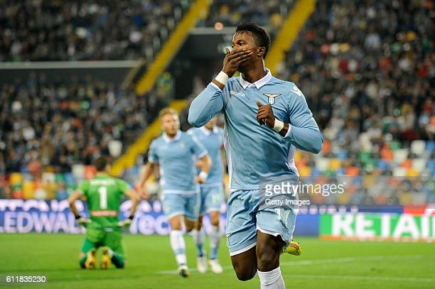Keita Balde Diao of SS Lazio celebrates after scoring his team's second goal during the Serie A match between Udinese Calcio and SS Lazio at Stadio...