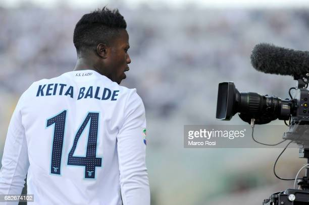Keita Balde Dioa of SS Lazio celebrates a openng goal during the Serie A match between ACF Fiorentina and SS Lazio at Stadio Artemio Franchi on May...