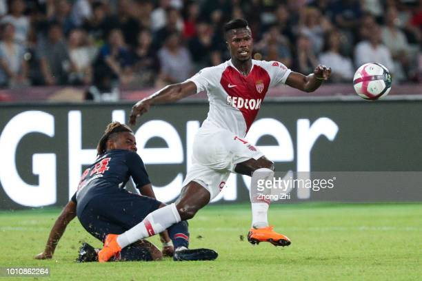 Keita Balde of AS Monaco in action against Christopher Nkunku of Paris SaintGermain during the French Trophy of Champions football match between AS...