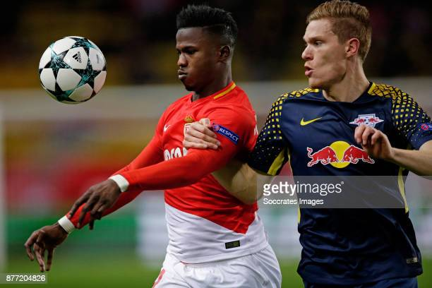 Keita Balde of AS Monaco Marcel Halstenberg of RB Leipzig during the UEFA Champions League match between AS Monaco v RB Leipzig at the Stade Louis II...