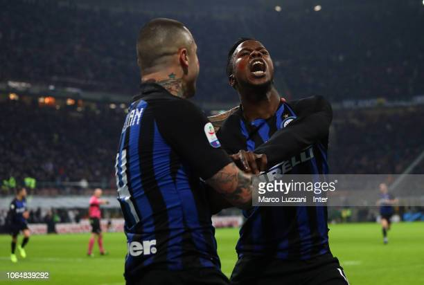 Keita Balde of FC Internazionale celebrates after scoring the opening goal with Radja Nainggolan during the Serie A match between FC Internazionale...