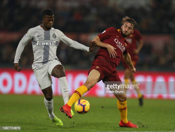 Keita Balde of FC Internazionale competes for the ball with Bryan Cristante of AS Roma during the Serie A match between AS Roma and FC Internazionale...