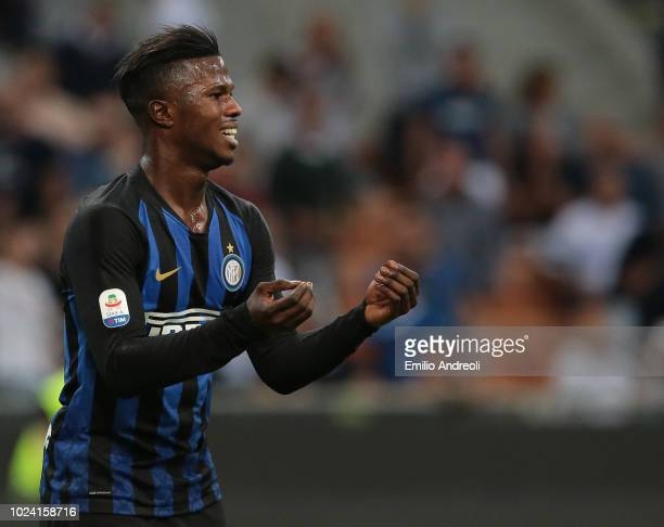 Keita Balde of FC Internazionale gestures during the serie A match between FC Internazionale and Torino FC at Stadio Giuseppe Meazza on August 26...