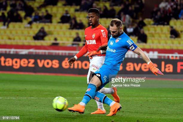 Keita Balde of Monaco and Baptiste Reynet of Dijon during the Ligue 1 match between AS Monaco and Dijon FCO at Stade Louis II on February 16 2018 in...