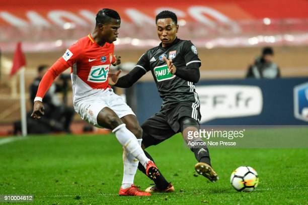 Keita Balde of Monaco and Kenny Tete of Lyon during the French National Cup match round of 32 between Monaco and Lyon on January 24 2018 in Monaco...