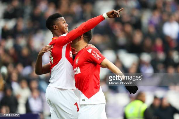 Keita Balde of Monaco celebrate the goal during the Ligue 1 match between Toulouse and AS Monaco at Stadium Municipal on February 24 2018 in Toulouse