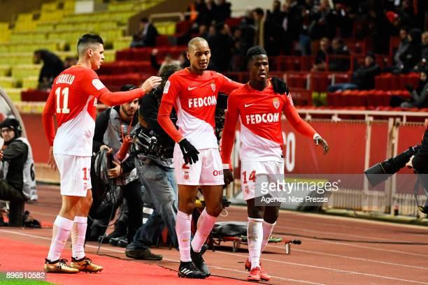 Keita Balde of Monaco celebrates his goal with Fabinho and Guido Carrillo during the Ligue 1 match between AS Monaco and Stade Rennais at Stade Louis...