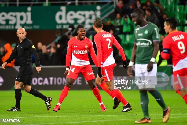 Keita Balde of Monaco celebrates putting his side 40 ahead during the Ligue 1 match between AS SaintEtienne and AS Monaco at Stade GeoffroyGuichard...