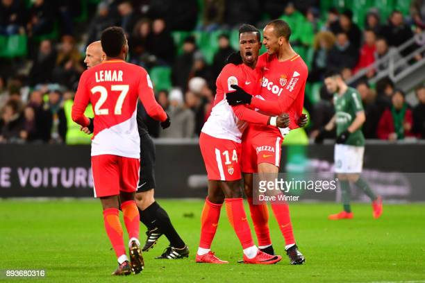Keita Balde of Monaco celebrates with Fabinho of Monaco putting his side 40 ahead during the Ligue 1 match between AS SaintEtienne and AS Monaco at...