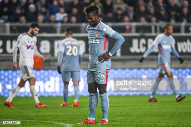 Keita Balde of Monaco looks dejected during the Ligue 1 match between Amiens SC and AS Monaco at Stade de la Licorne on November 17 2017 in Amiens