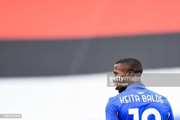 Keita Balde of Sampdoria looks on during the Serie A match between UC Sampdoria and Ssc Napoli at Stadio Luigi Ferraris on April 11, 2021 in Genoa,...