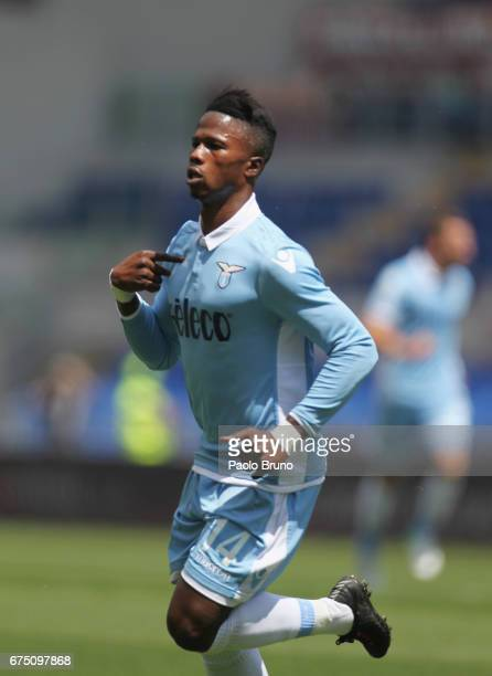 Keita Balde of SS Lazio ceebrates after scoring the opening goal during the Serie A match between AS Roma and SS Lazio at Stadio Olimpico on April 30...