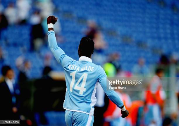 Keita Balde of SS Lazio celebrates after scoring the opening goal during the Serie A match between SS Lazio and UC Sampdoria at Stadio Olimpico on...