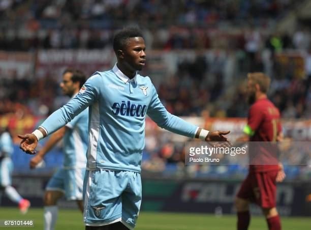 Keita Balde of SS Lazio reacts during the Serie A match between AS Roma and SS Lazio at Stadio Olimpico on April 30 2017 in Rome Italy