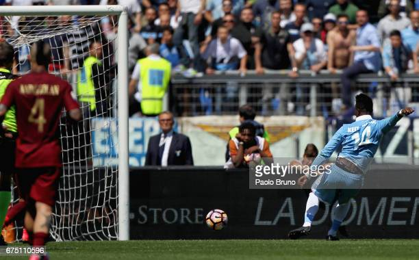 Keita Balde of SS Lazio scores the team's third goal during the Serie A match between AS Roma and SS Lazio at Stadio Olimpico on April 30 2017 in...