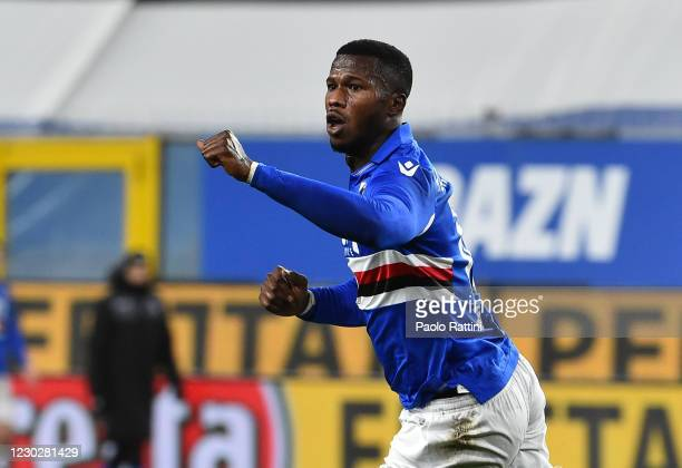 Keita Balde of UC Sampdoria celebrates after scoring 2-3 during the Serie A match between UC Sampdoria and US Sassuolo at Stadio Luigi Ferraris on...