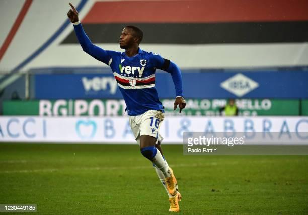 Keita Balde of UC Sampdoria celebrates after scoring the second goal during the Serie A match between UC Sampdoria and FC Internazionale at Stadio...