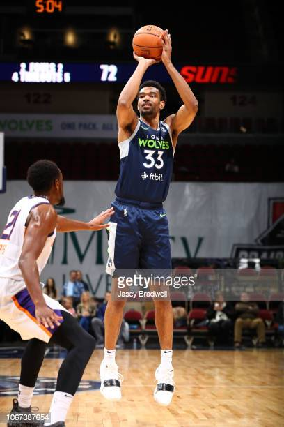Keita BatesDiop of the Iowa Wolves shoots a jumpshot against Aaron Epps of the Northern Arizona Suns in an NBA GLeague game on December 1 2018 at the...