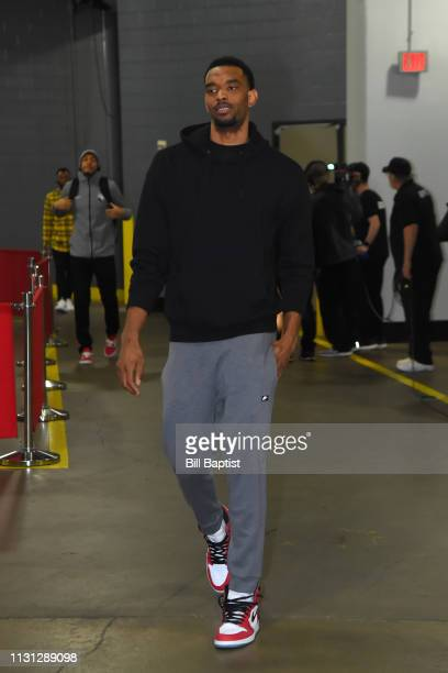 Keita BatesDiop of the Minnesota Timberwolves arrives prior to a game against the Houston Rockets on March 17 2019 at the Toyota Center in Houston...