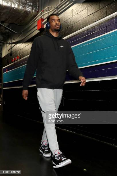 Keita BatesDiop of the Minnesota Timberwolves arrives to the arena before the game against the Charlotte Hornets on March 21 2019 at Spectrum Center...