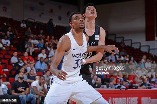Keita BatesDiop of the Minnesota Timberwolves boxes out against Yuta Watanabe of the Brooklyn Nets during the 2018 Las Vegas Summer League on July 9...