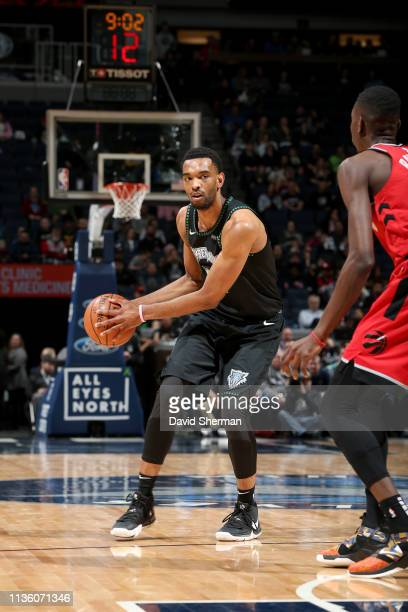 Keita BatesDiop of the Minnesota Timberwolves handles the ball during the game against the Toronto Raptors on April 9 2019 at Target Center in...