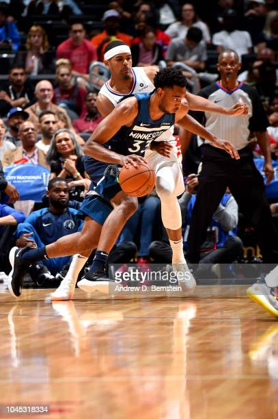 Keita BatesDiop of the Minnesota Timberwolves handles the ball against the LA Clippers during a preseason game on October 3 2018 at Staples Center in...