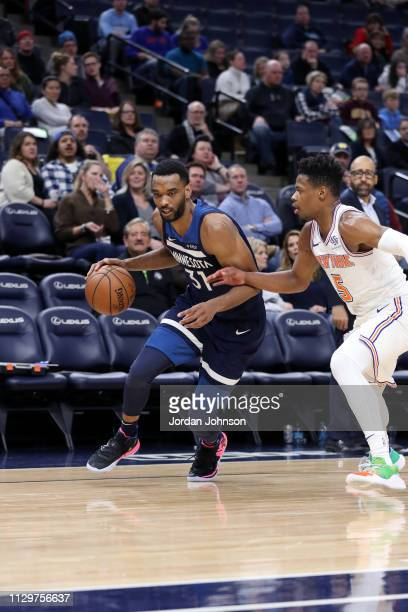 Keita BatesDiop of the Minnesota Timberwolves handles the ball against the New York Knicks on March 10 2019 at Target Center in Minneapolis Minnesota...