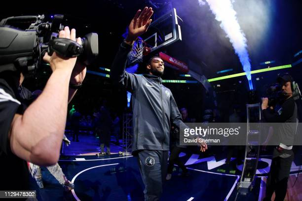 Keita BatesDiop of the Minnesota Timberwolves seen during player introductions prior to the game against the Washington Wizards on March 9 2019 at...