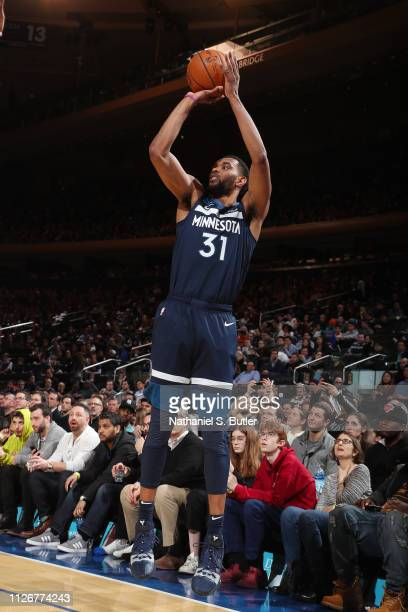 Keita BatesDiop of the Minnesota Timberwolves shoots a threepointer during the game during the game against the New York Knicks on February 22 2019...