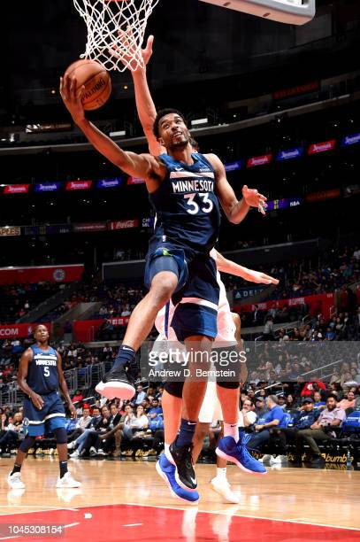 Keita BatesDiop of the Minnesota Timberwolves shoots the ball against the LA Clippers during a preseason game on October 3 2018 at Staples Center in...