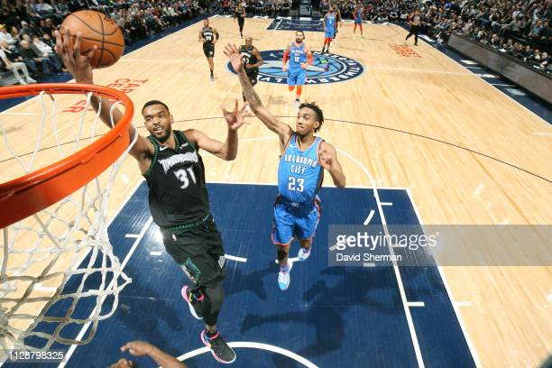 Keita BatesDiop of the Minnesota Timberwolves shoots the ball against the Oklahoma City Thunder on March 15 2019 at Target Center in Minneapolis...